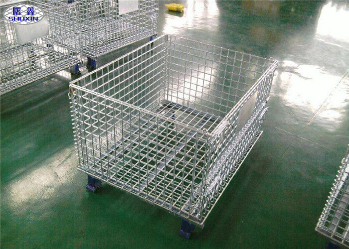 Durable Folding Wire Mesh Pallet Cages Glavanized Metal  Stillage Container