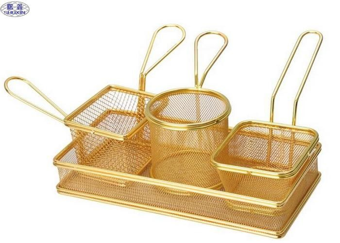 Metal Stainless Steel Fryer Basket ISO Certificated For Chicken And Potato
